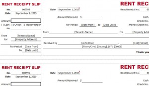 Dual Type Rent Receipt Template