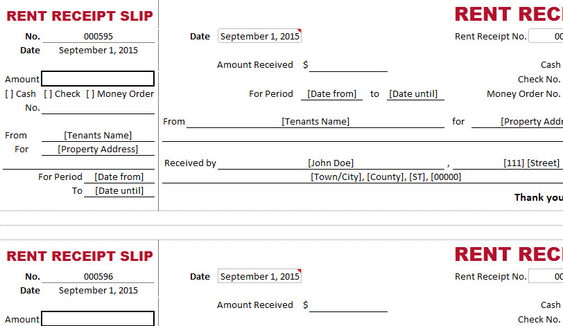 Dual Type Rent Receipt Template - My Excel Templates