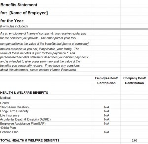 Employee Benefits Statement Template - My Excel Templates