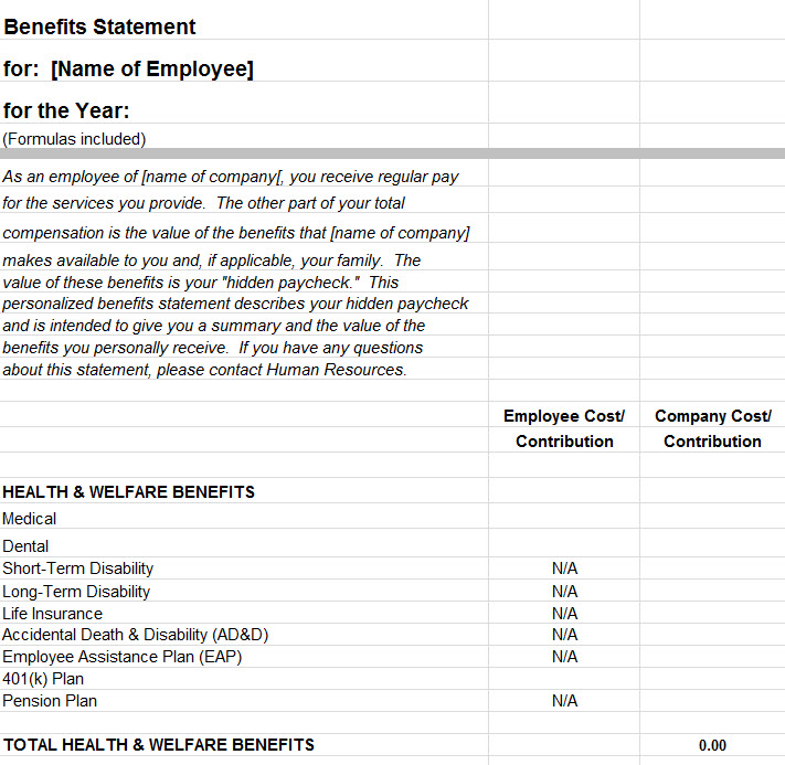 employee benefits statement template