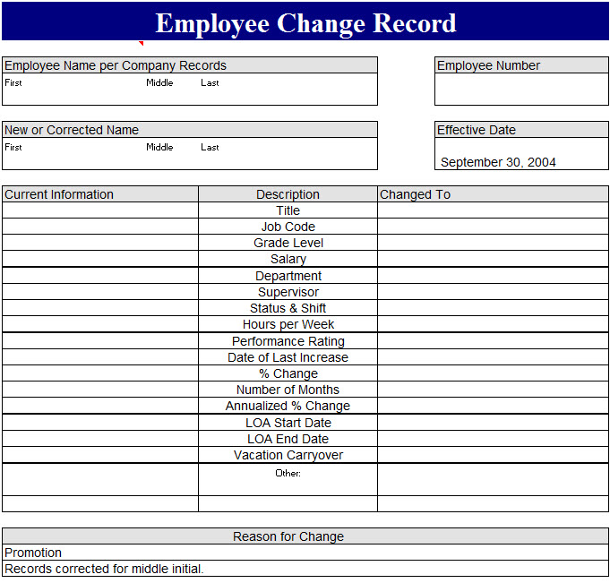 employee change record template