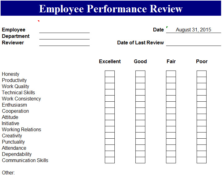 Employee performance review template my excel templates for Employee performance reviews templates
