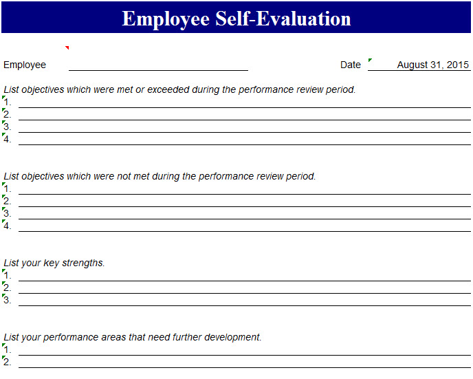 Self Evaluation. Employee Self Evaluation Template - My Excel