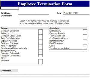 photograph about Printable Employee Termination Form named Personnel Termination Variety - My Excel Templates