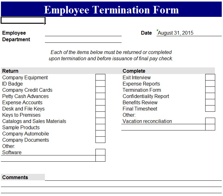 Employee Termination Form My Excel Templates – Employment Termination Form Template