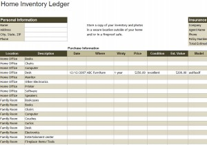 Home Inventory Ledger Template My Excel Templates - Corporate stock ledger template