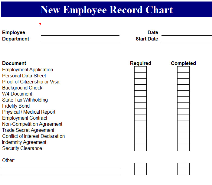 New Employee Record Chart  My Excel Templates
