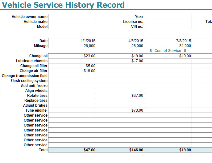 vehicle service history record template my excel templates. Black Bedroom Furniture Sets. Home Design Ideas