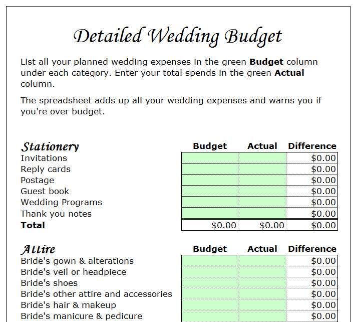 Wedding Budget Planner Template - My Excel Templates