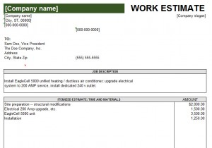 work estimates template