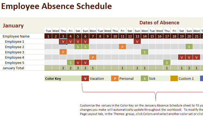 vacation and work planning calendar template
