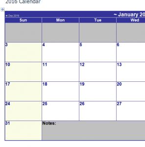 2016 MonthlyCalendar