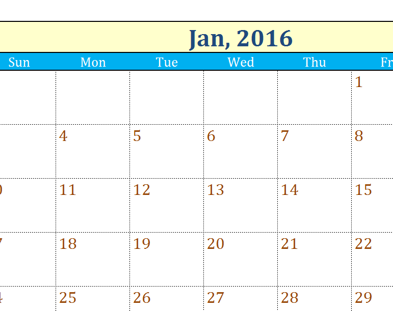 Yearly Calendar Template Excel