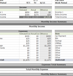 Bi-Weekly Budget Sheet - My Excel Templates