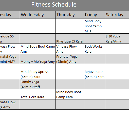 Fitness Calendar Template - My Excel Templates