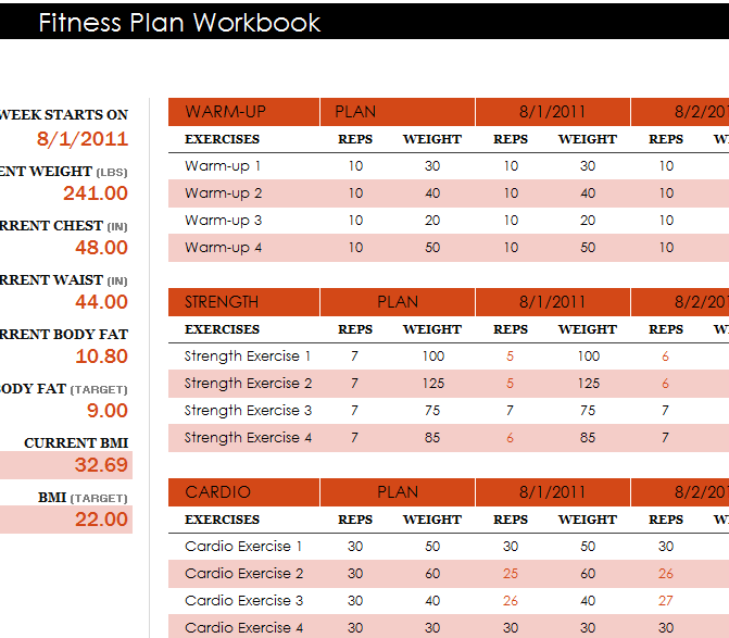fitness plan workbook
