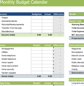 Monthly Budget Calendar - My Excel Templates