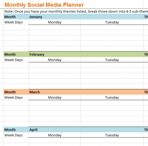 Monthly social media planner my excel templates monthly social media planner flashek