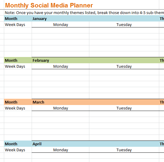 Monthly Social Media Planner My Excel Templates