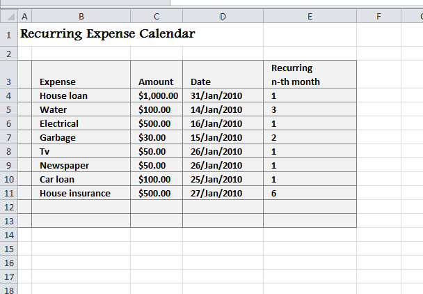 recurring expense calendar