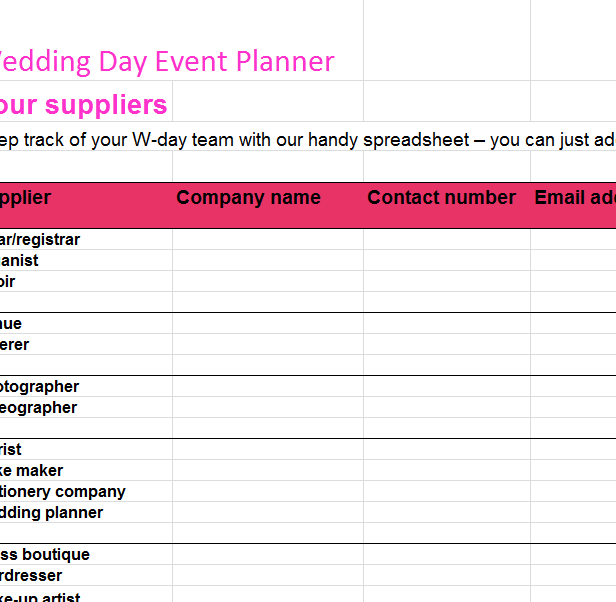 wedding day event planner