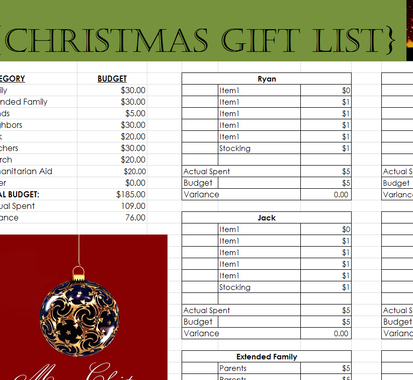 comprehensive christmas gift list my excel templates. Black Bedroom Furniture Sets. Home Design Ideas