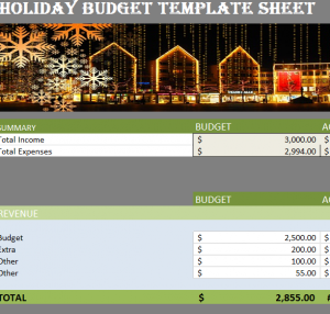 Holiday Budget Sheet Template