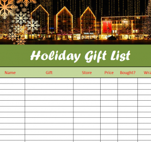 Holiday Gift List Sheet