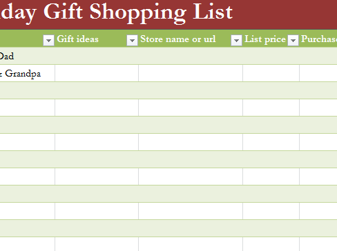 Holiday Gift List My Excel Templates