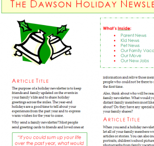 Holiday Newsletter (1)