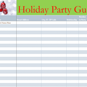 holiday party guest list my excel templates. Black Bedroom Furniture Sets. Home Design Ideas