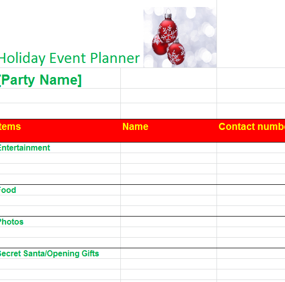 holiday party organizer my excel templates