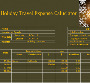Holiday Travel Expense Calendar
