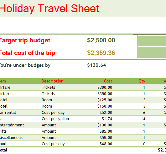 holiday travel sheet my excel templates