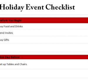 Holiday event Checklist