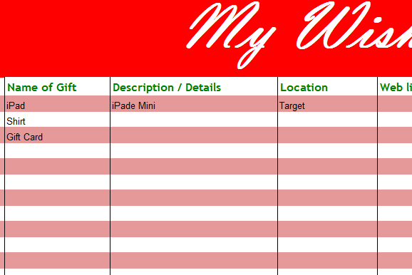 my holiday wish list my excel templates. Black Bedroom Furniture Sets. Home Design Ideas