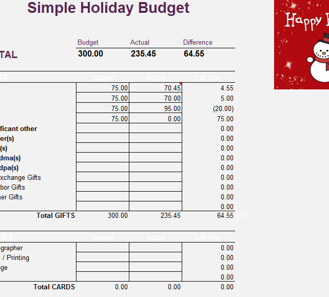 simple holiday budget sheet