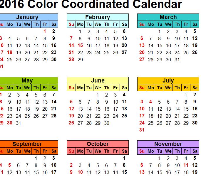 2016 colorful calendar