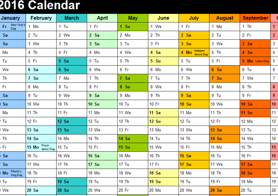 Year Calendar 2016 Excel : Yearly color calendar my excel templates