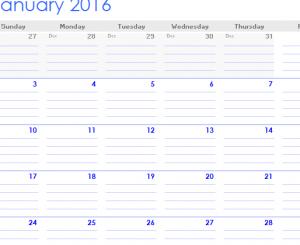 2016 Note Calendar Template
