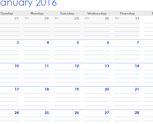 2016 Note Calendar Template My Excel Templates