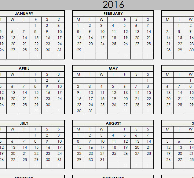 2016 Printable Calendar My Excel Templates