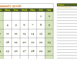 2016 Simple Calendar Template
