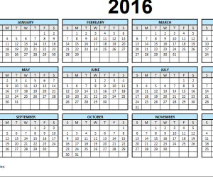 2016 Single Page Calendar