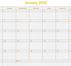 2016 monthly calendar template