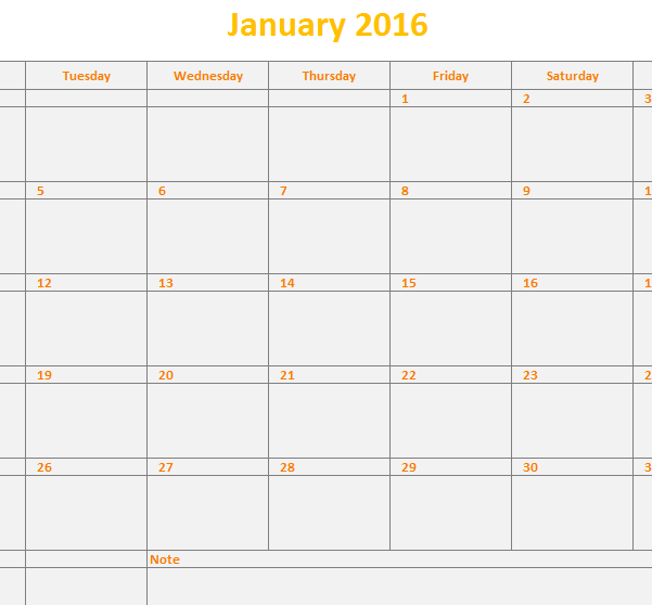2016 Monthly Calendar Template
