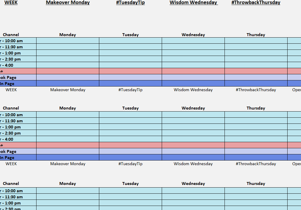 Social Media Posting Calendar My Excel Templates