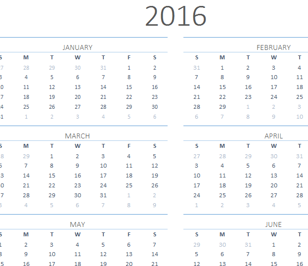 Calendar Excel One Page : One page calendar my excel templates