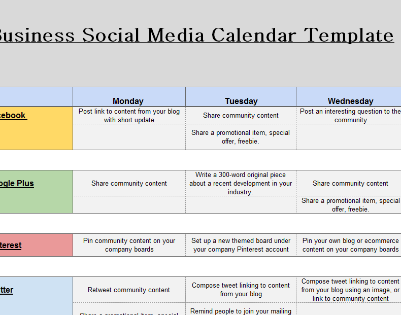 2016 Social Media Marketing Calendar My Excel Templates