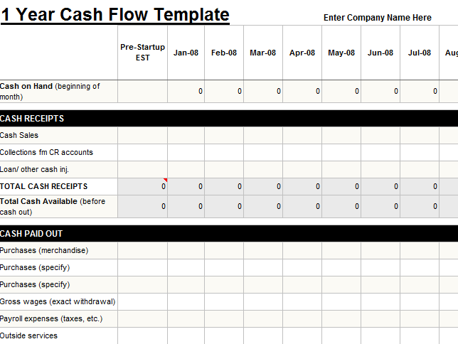 1 year cash flow template
